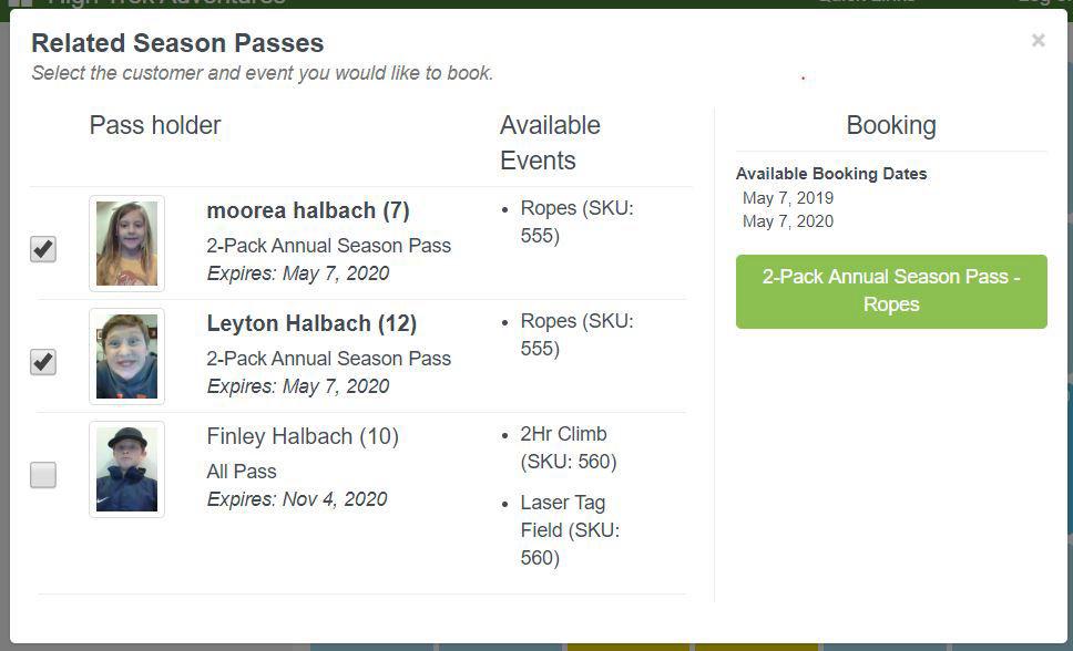 High Trek POS create membership pass
