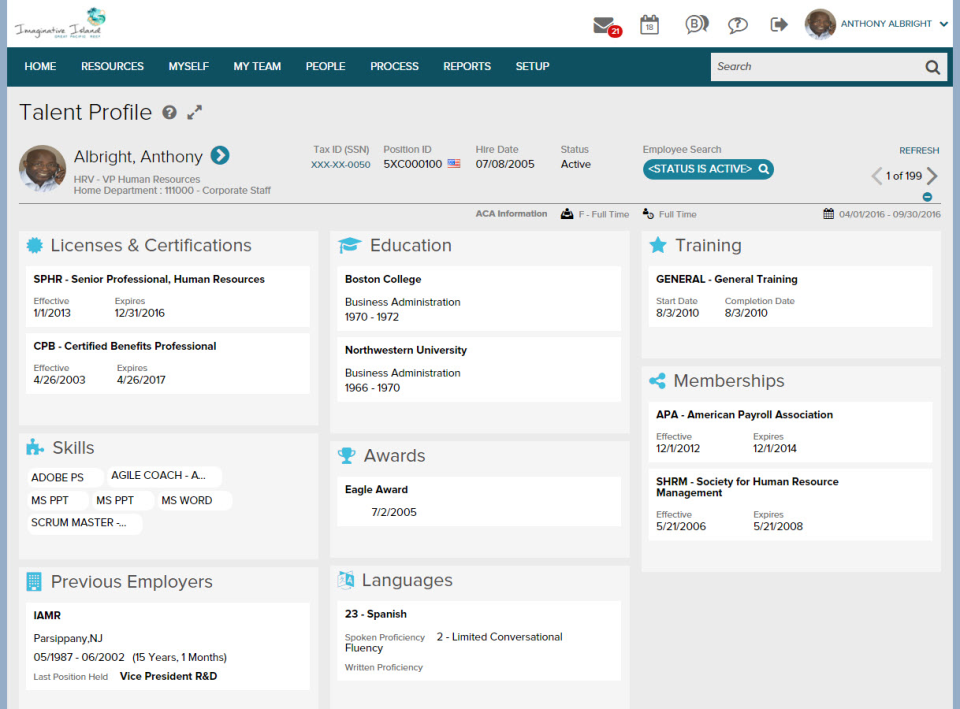 ADP Workforce Now Software - HR - Talent Records