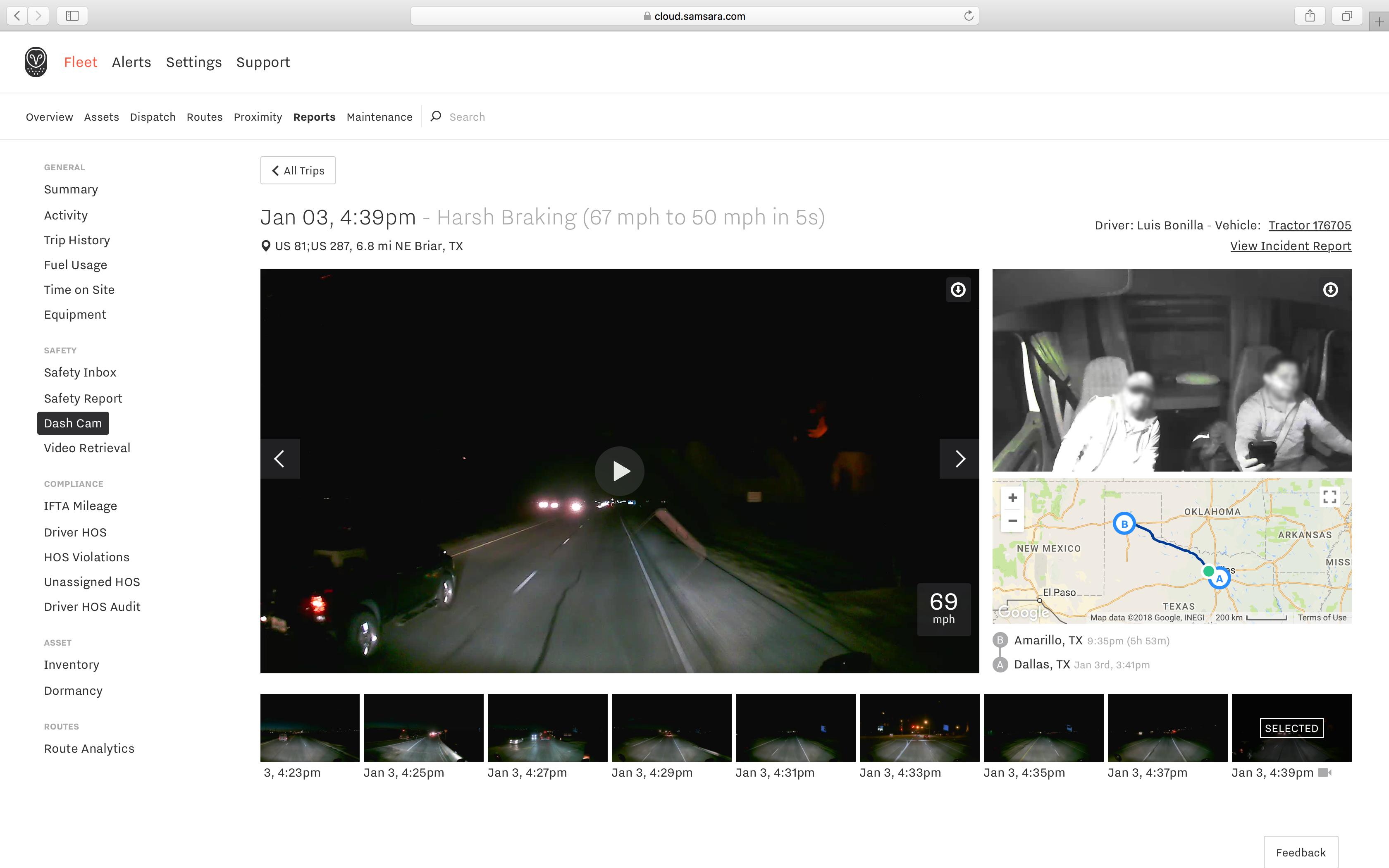 Samsara Software - Samsara dash-cam footage