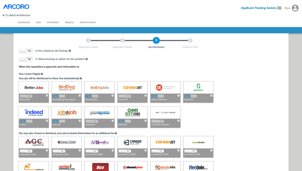 Arcoro screenshot: Arcoro job distribution