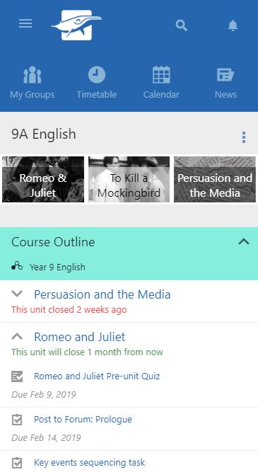 Schoolbox Software - Schoolbox course outline screenshot
