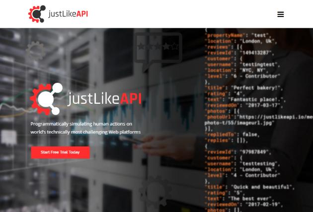 justLikeAPI screenshot: justLikeAPI website