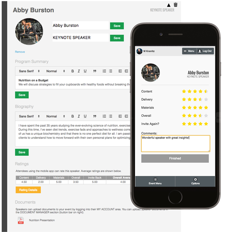 Registered event speakers are added to a speaker library, recording a personal profile containing all associated details that can then be referenced and added to future events