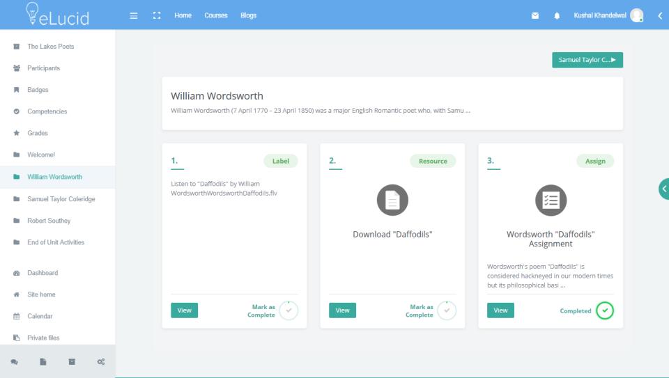 eLucid course layout screenshot