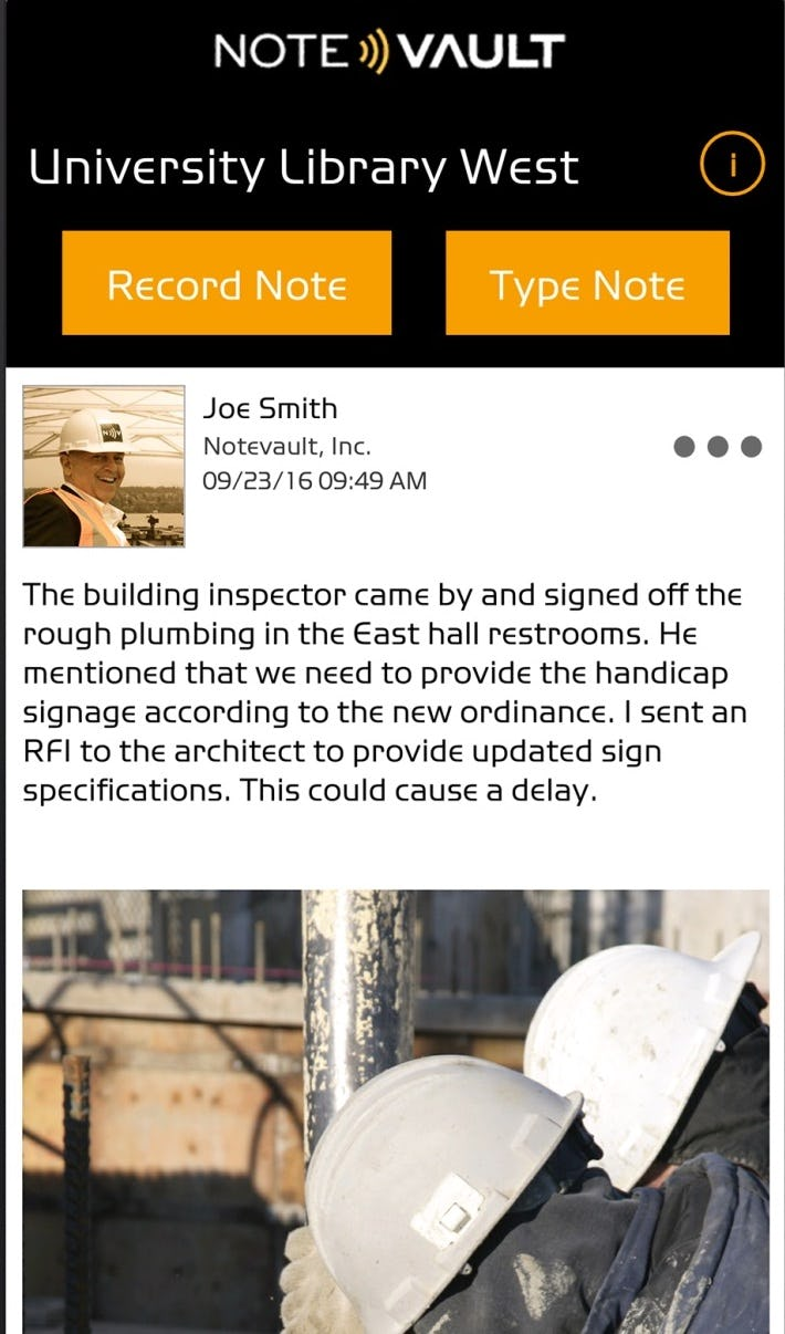 NoteVault Software - Daily construction reporting