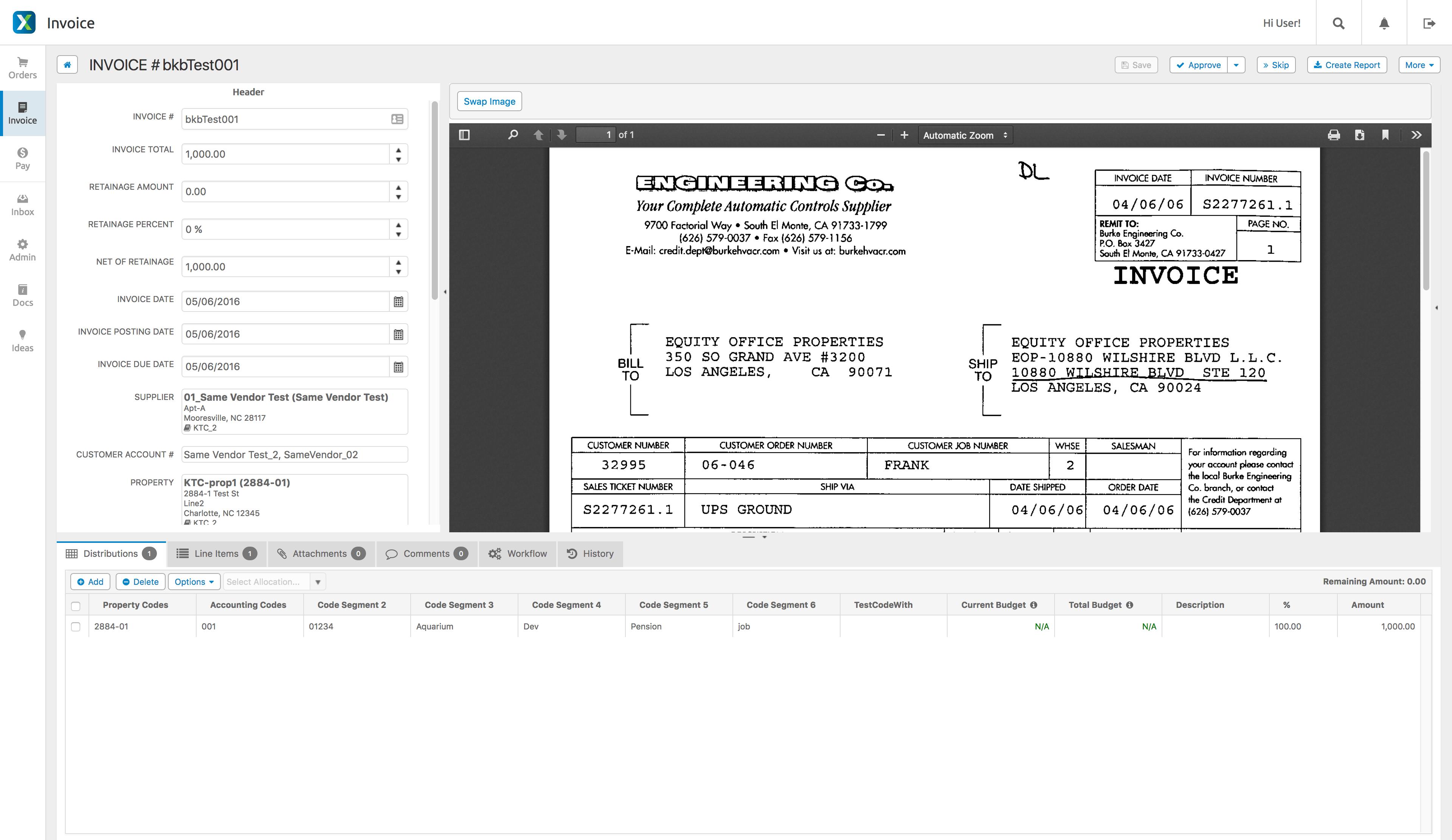 AvidXchange Software - AvidXchange invoice detail screenshot