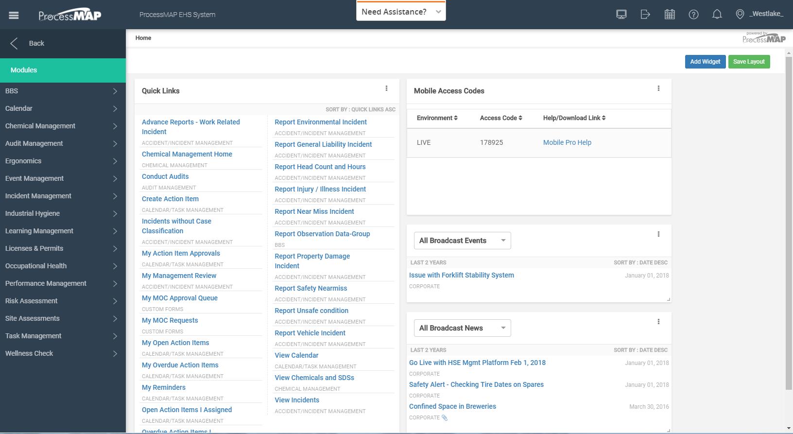 ProcessMAP EHS Platform Software - Home screen