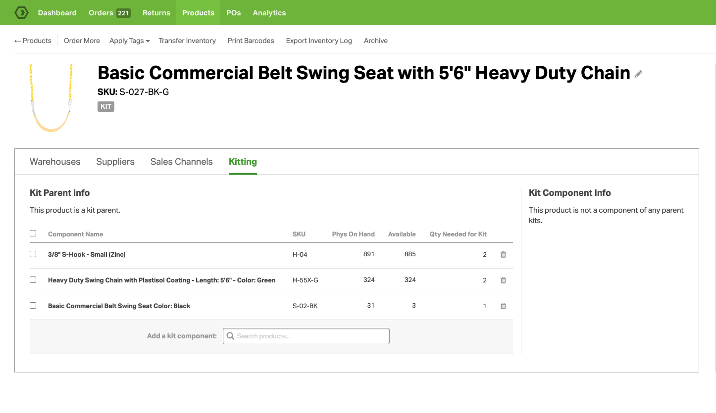 Create robust kits with ease on the Product Detail page