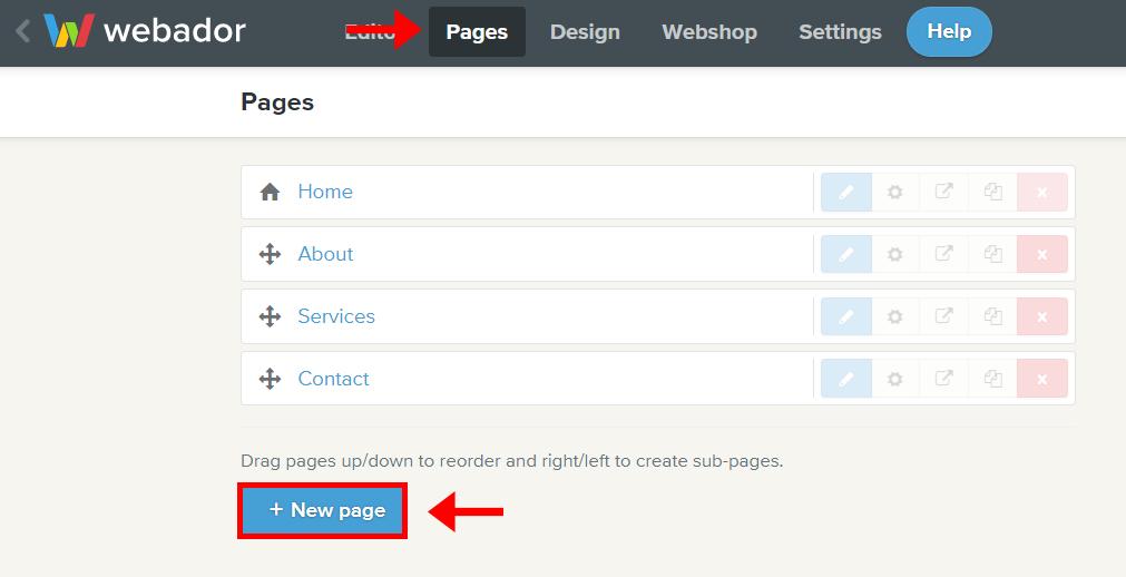 Webador adding webpages