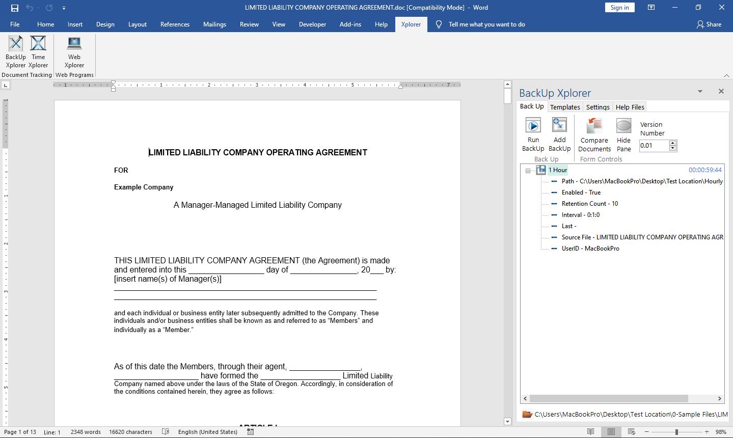 Task pane with Backup Xplorer shown in Microsoft Word.