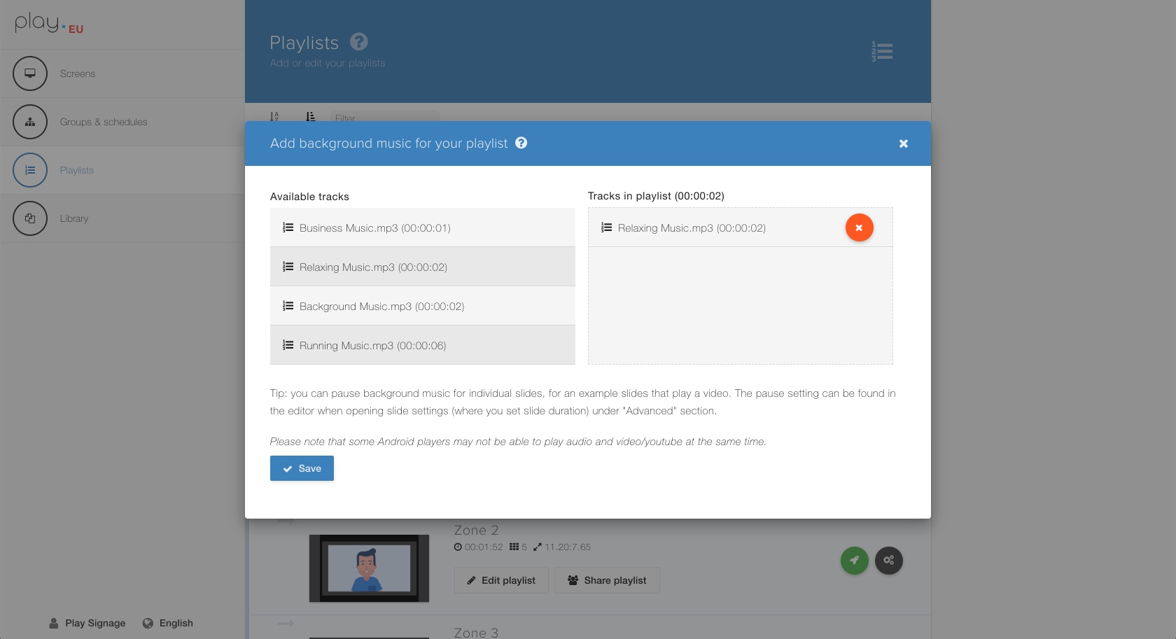 Add background music to your playlists and/or individual slides in your content.
