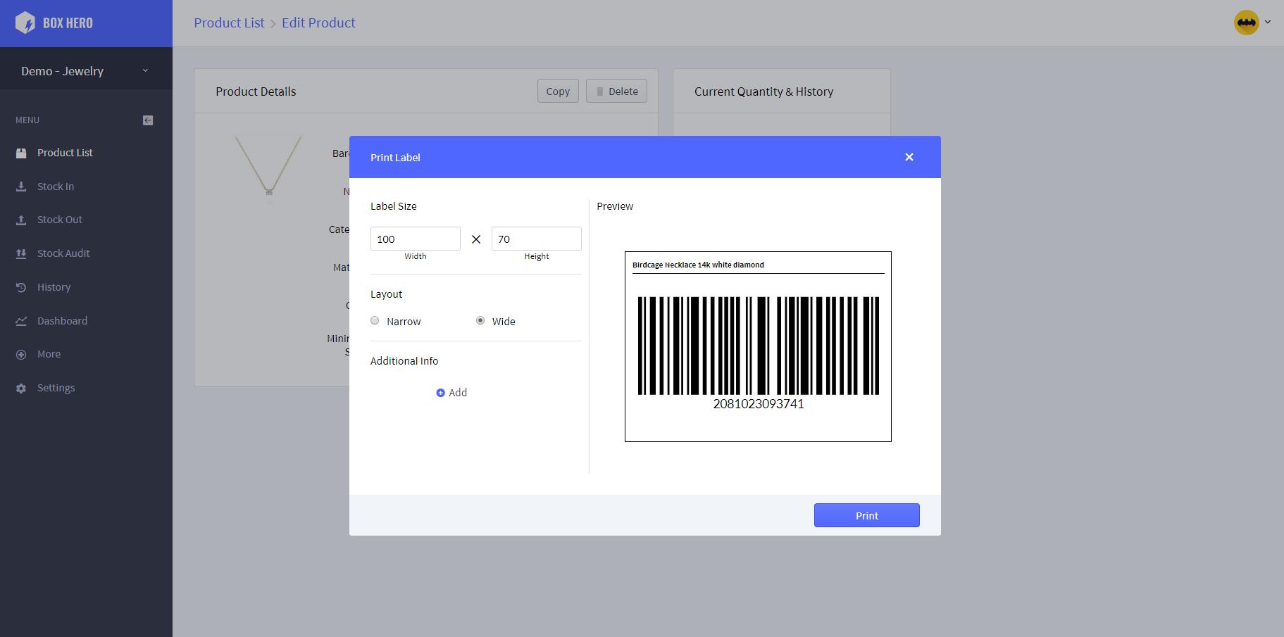 BoxHero barcode printing screenshot