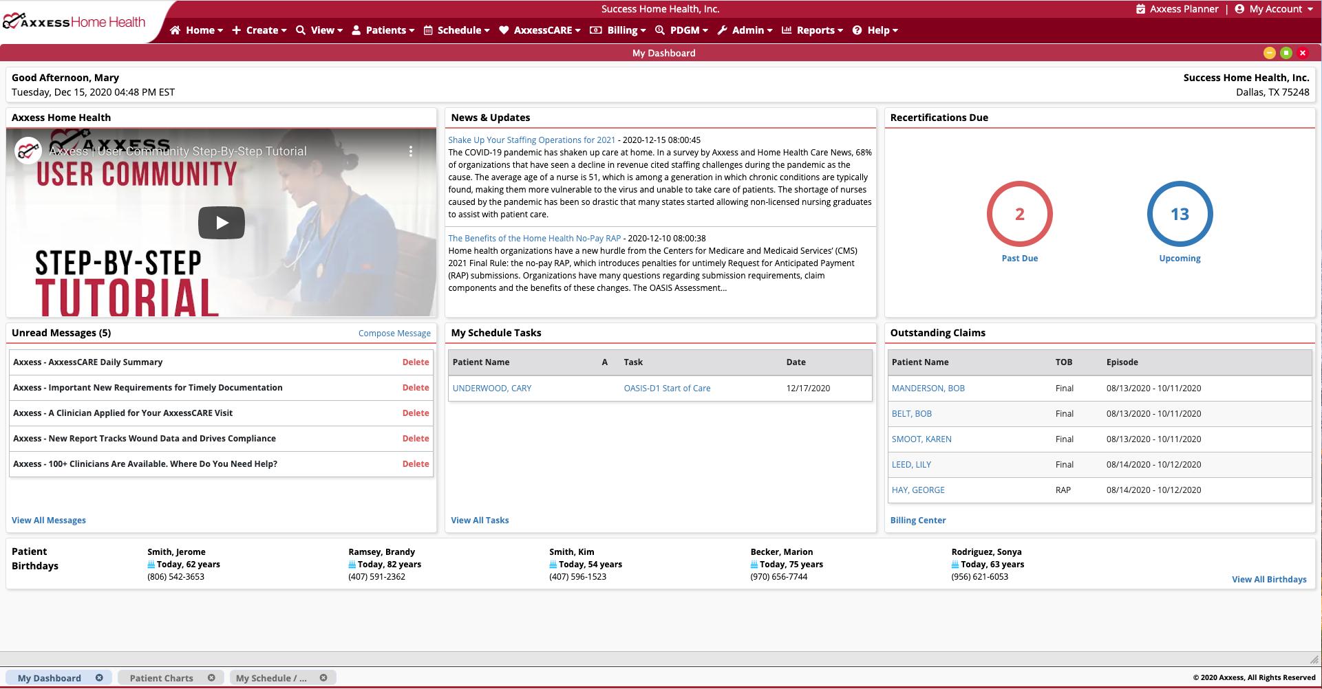 Axxess Home Health Software - Home Health Software Dashboard