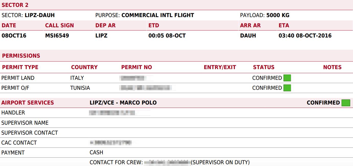 Awery ERP Software - Flight brief