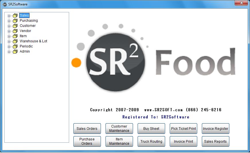 SR2Food Software - Main SR2Food Screen