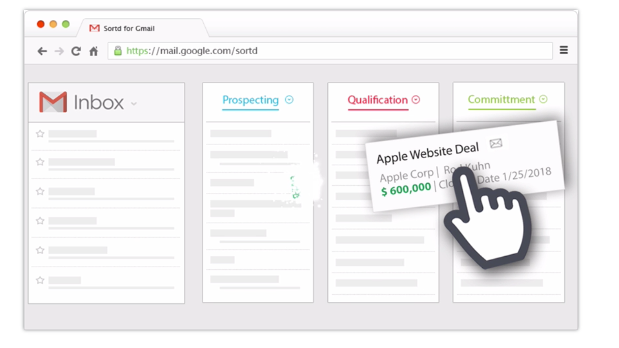 Drag and drop important emails into sales pipeline