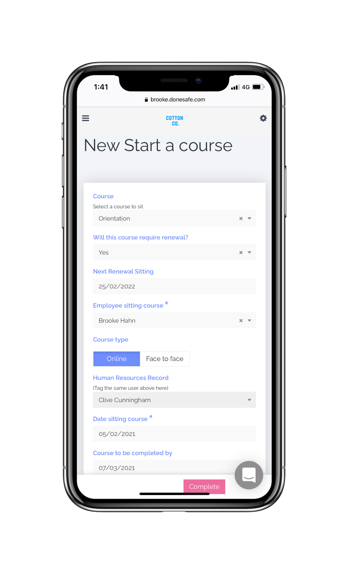 HSI Software - HSI Start a Course