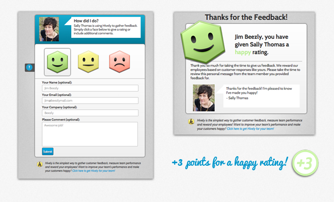 Get points for customer feedback