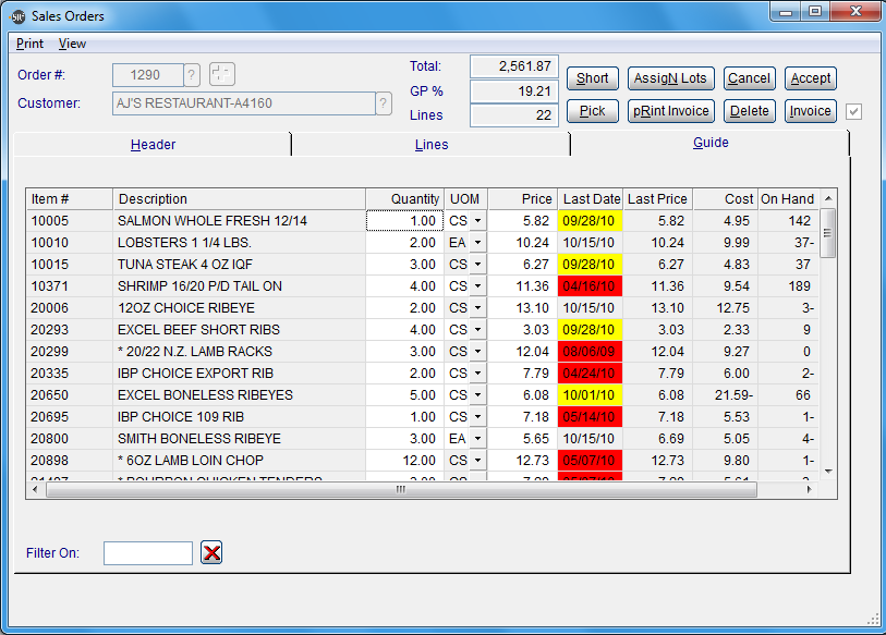 SR2Food Software - Order Guide Screen