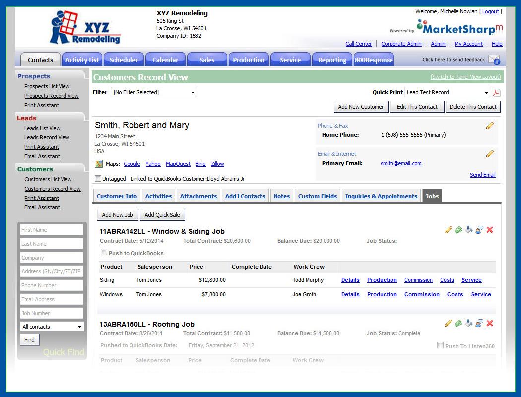 MarketSharp Software - Customer screen