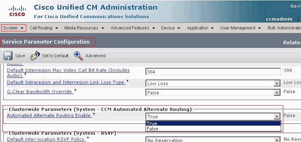 Cisco Unified Communications Manager service parameter configuration