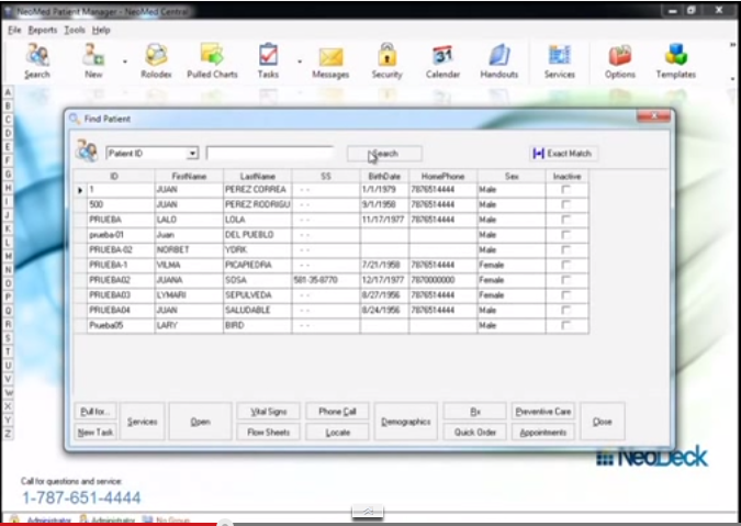 NeoMed EHR Software - Patient search