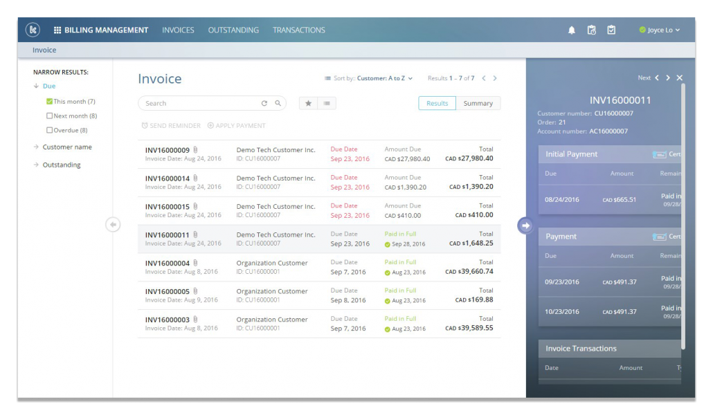 Invoices can be generated and tracked