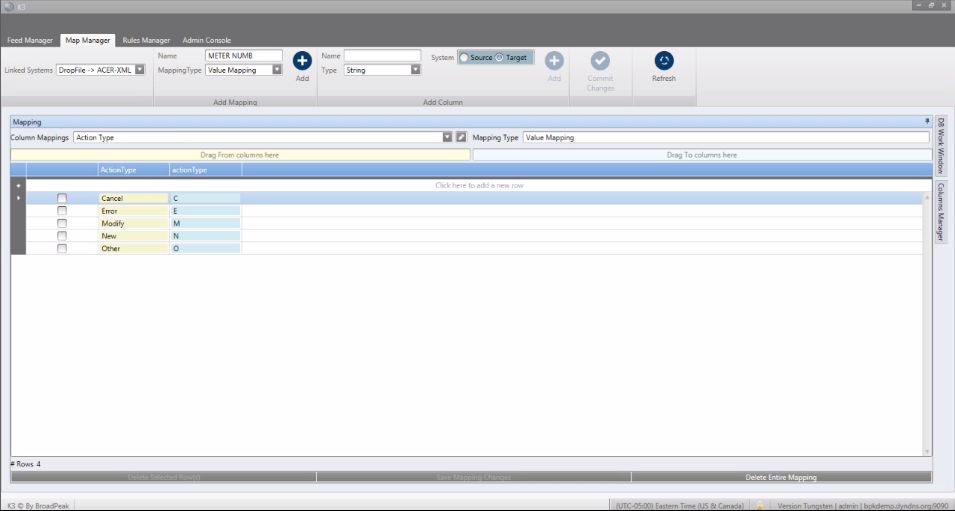 K3 by BroadPeak screenshot: K3 allows users to manage data mapping directly through the UI, with no need for coding