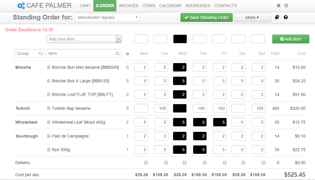Mountain Stream Bakery Software screenshot: View items in production for the current week with self service ordering