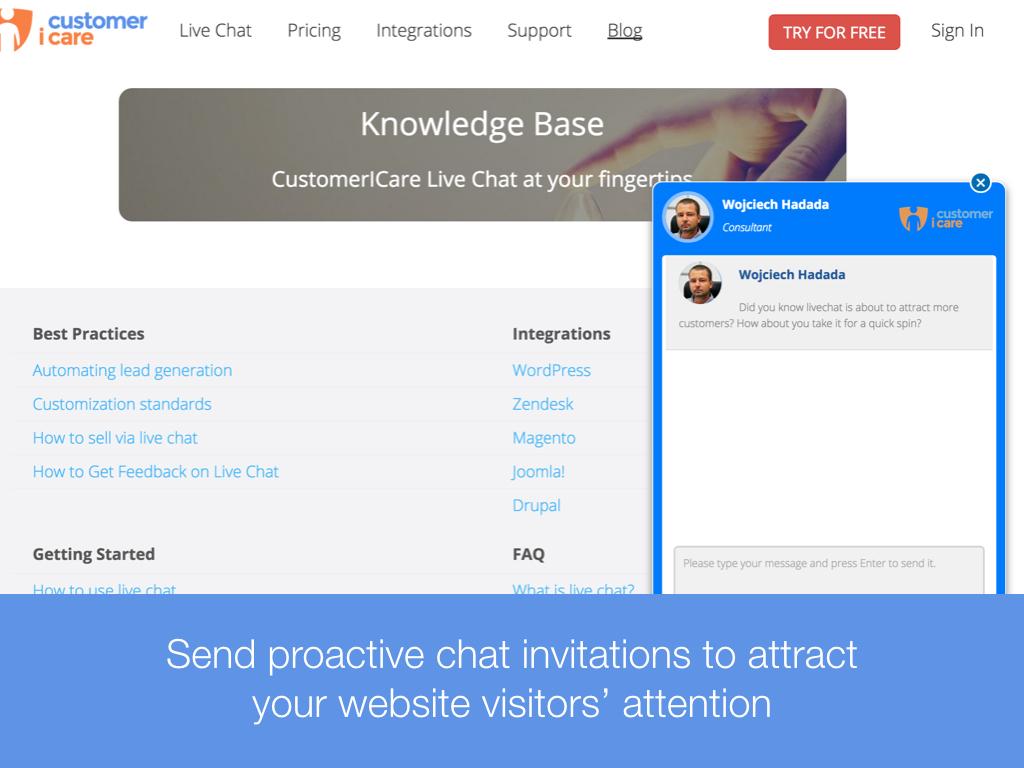 CustomerICare Software - Chat invitations