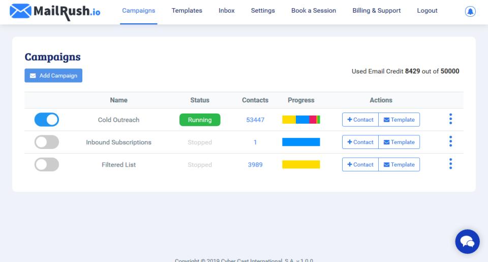 MailRush.io Software - Main Dashboard