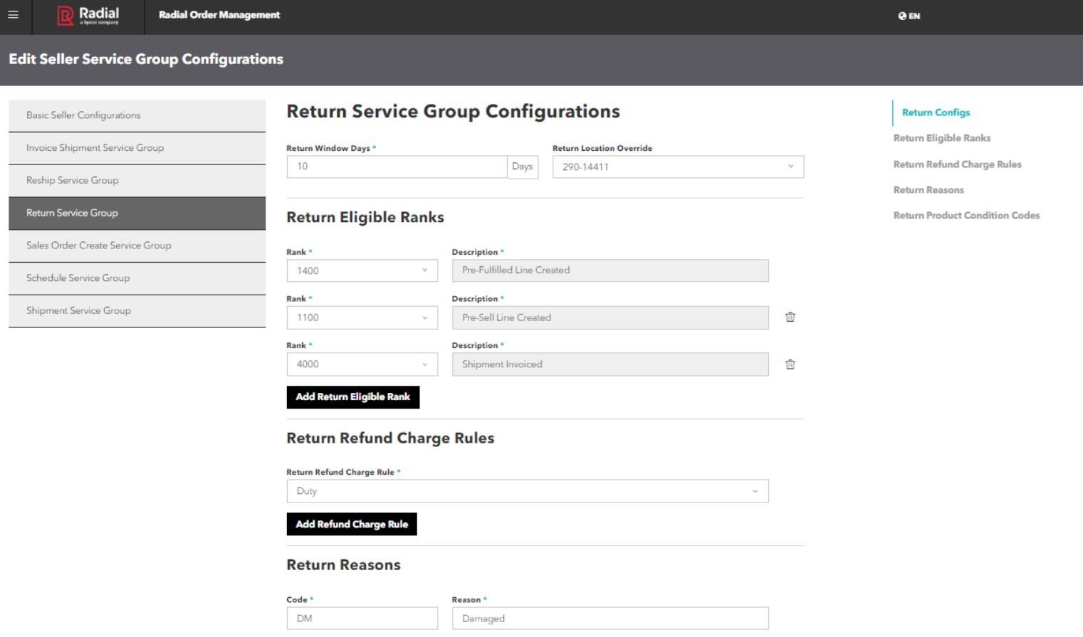 Radial Order Management group configurations