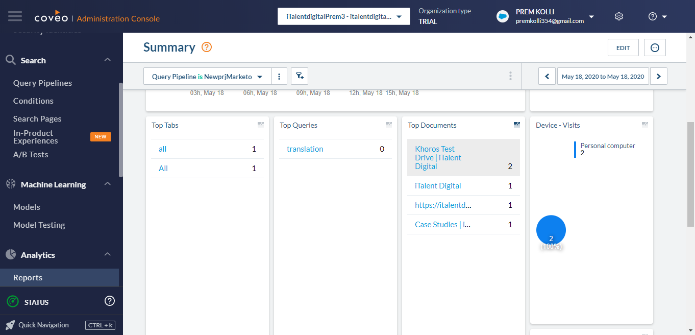 Coveo Relevance Cloud reports