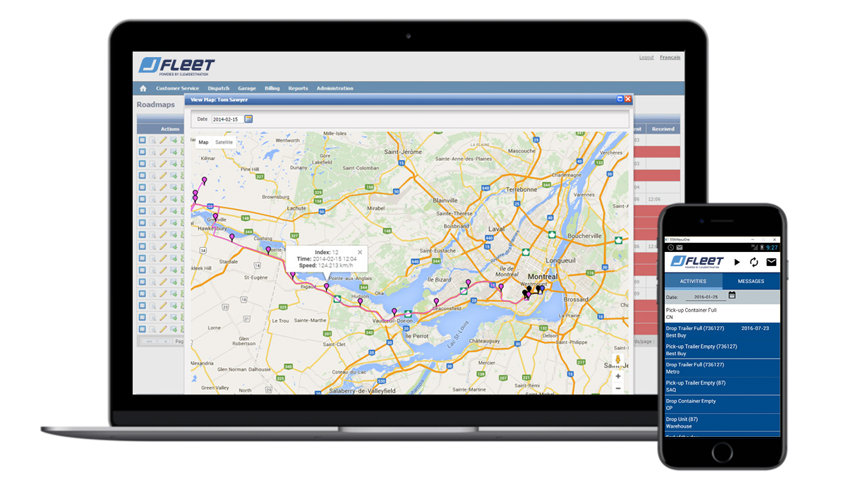JFleet is ClearDestination's Transport Management Software (TMS) module that provides real time driver tracking, equipment maintenance monitoring, dashboard reporting, plus the JFleet mobile app for assisting communications between dispatcher and driver