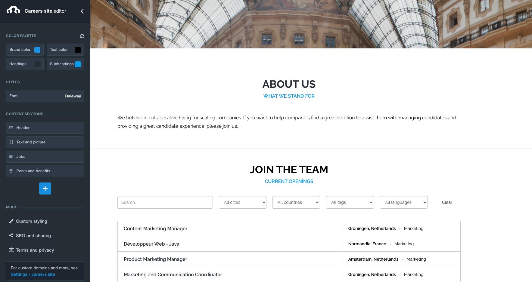 Recruitee career site