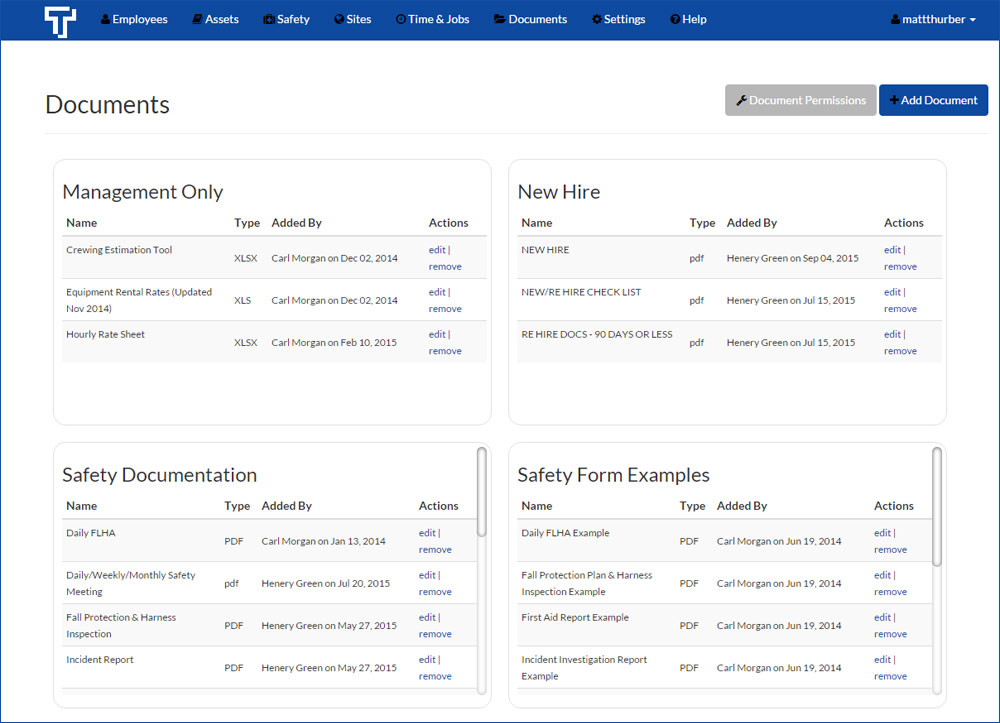 Retrieve all up-to-date safety documentation within Traqspera