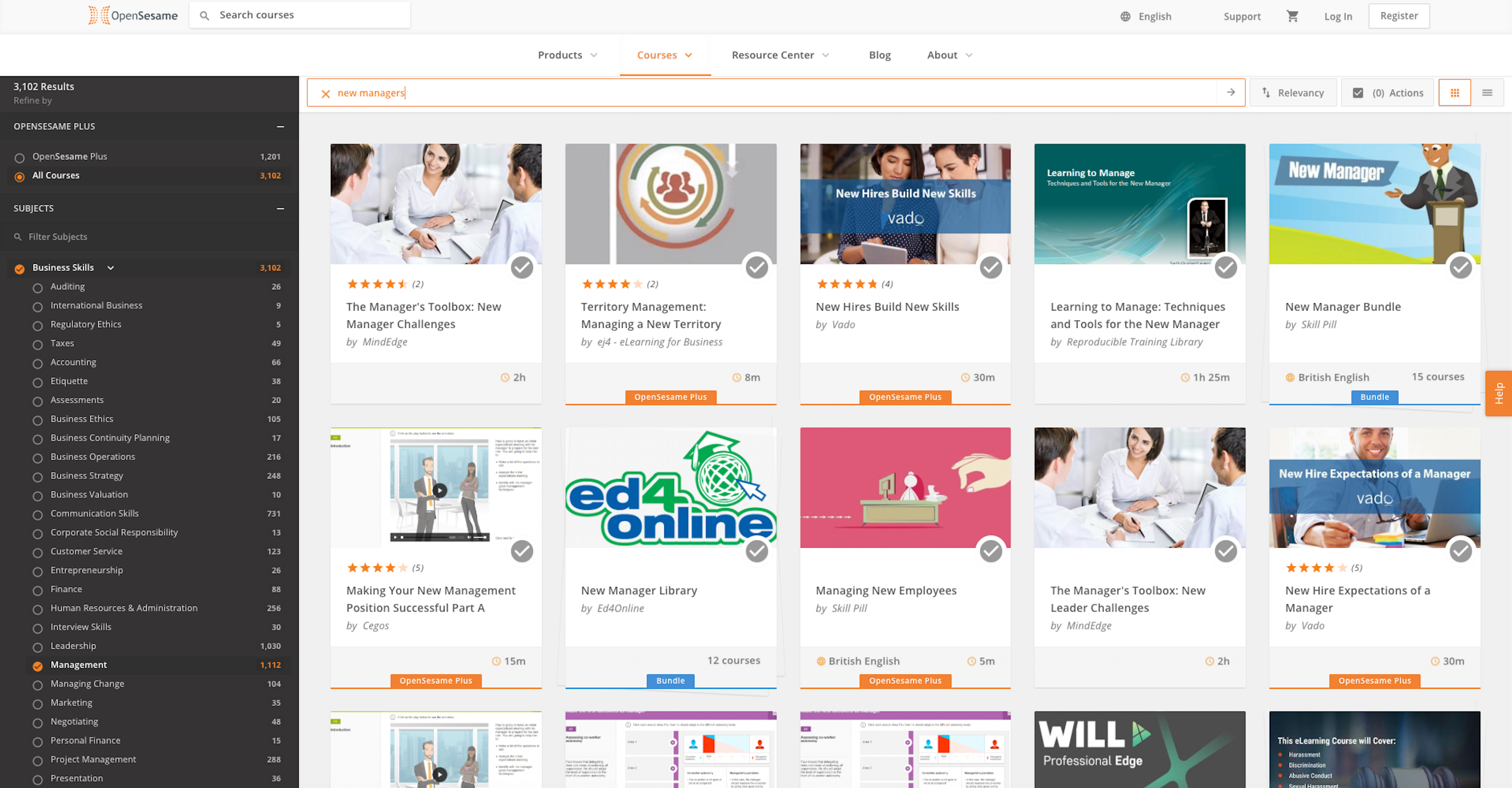 OpenSesame Software - Catalog search