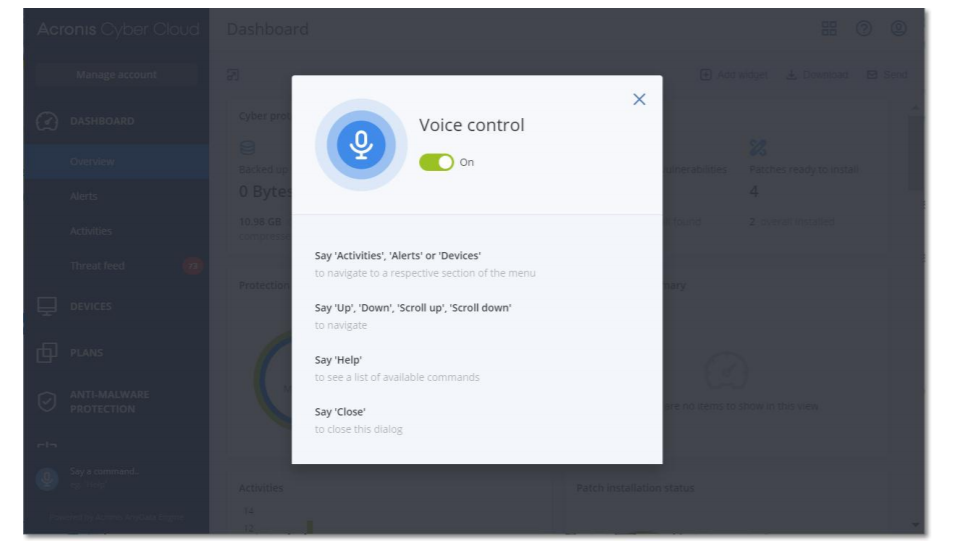 Acronis Cyber Protect Cloud voice control