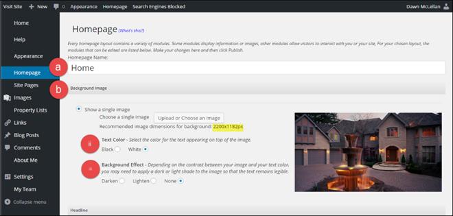MoxiWebsites screenshot: MoxiWebsites homepage configuration