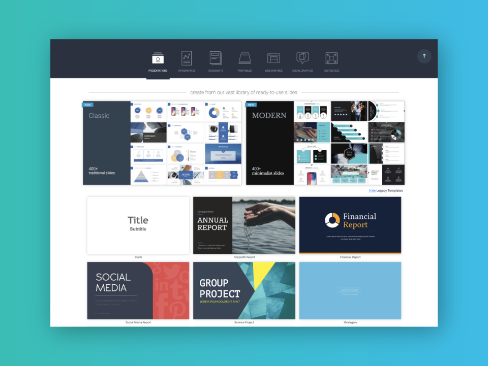 Visme Software - Template library with over 40 content types