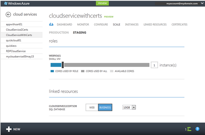 Microsoft Azure cloud services