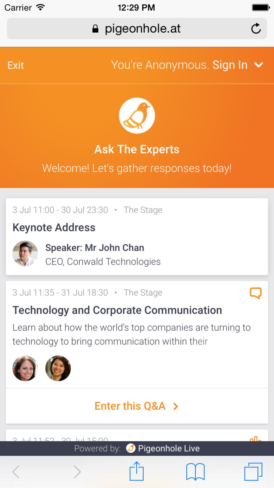 Full event agenda complete with session description and speaker profiles