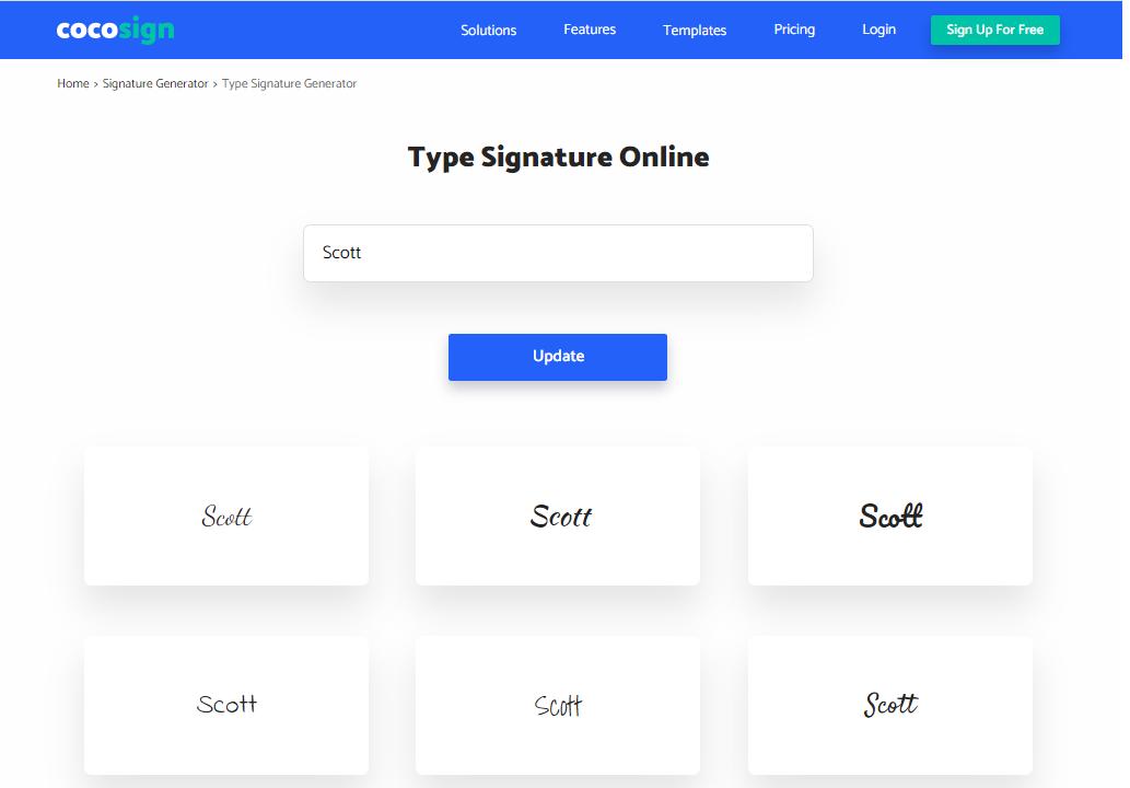 Type Signature Online