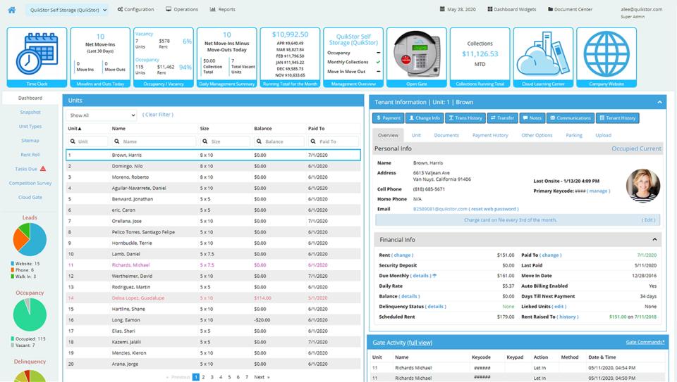 QuikStor Cloud dashboard