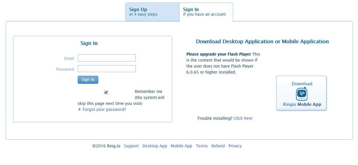 Ringio Software - User login page