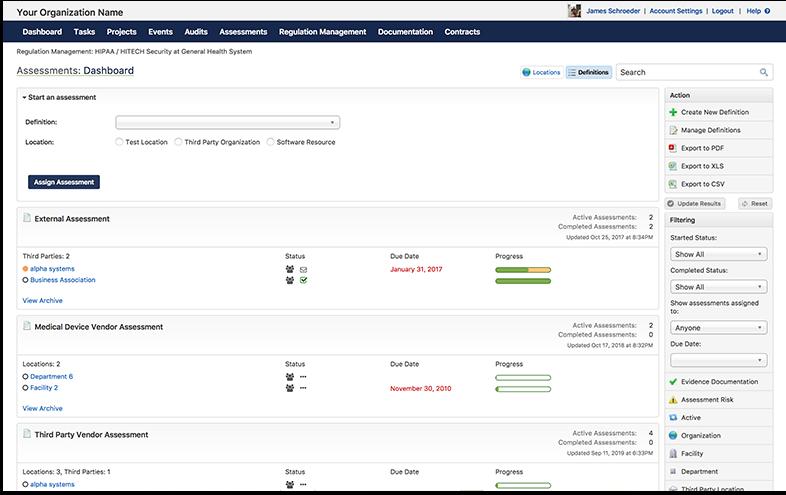ComplyAssistant screenshot: ComplyAssistant vendor management