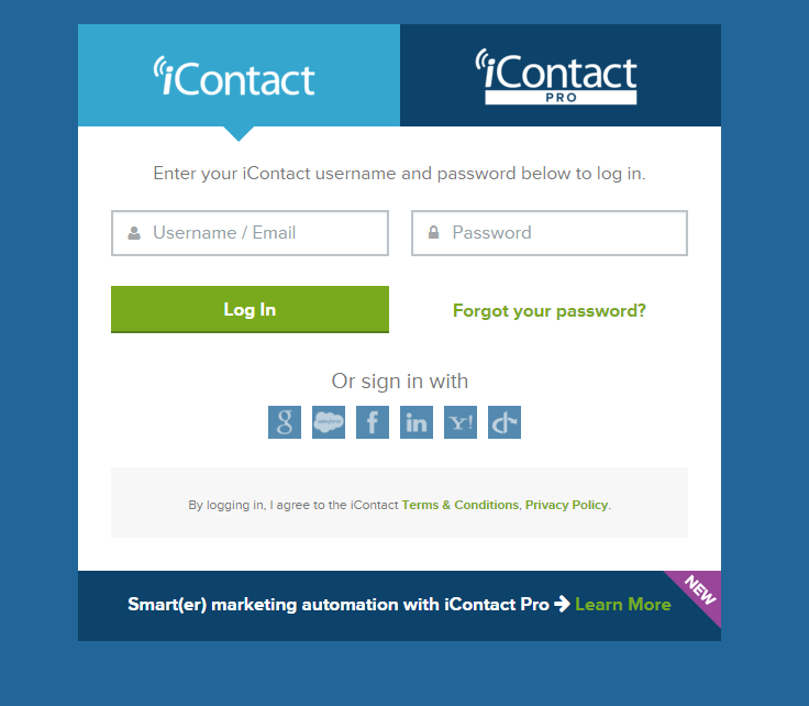 iContact Software - Login page