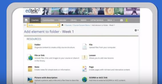 Hosted LMS - Allows users to create folders and add elements to it