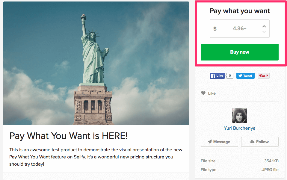 Users can set up 'Pay What You Want' on their products in Sellfy