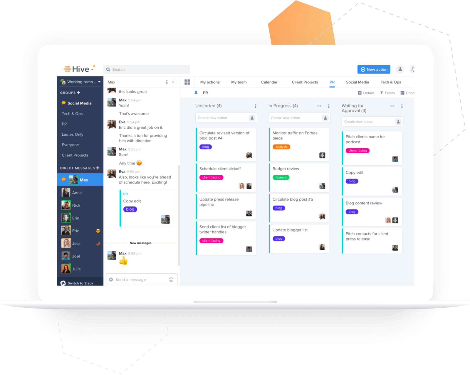 Kanban view and chat in Hive.